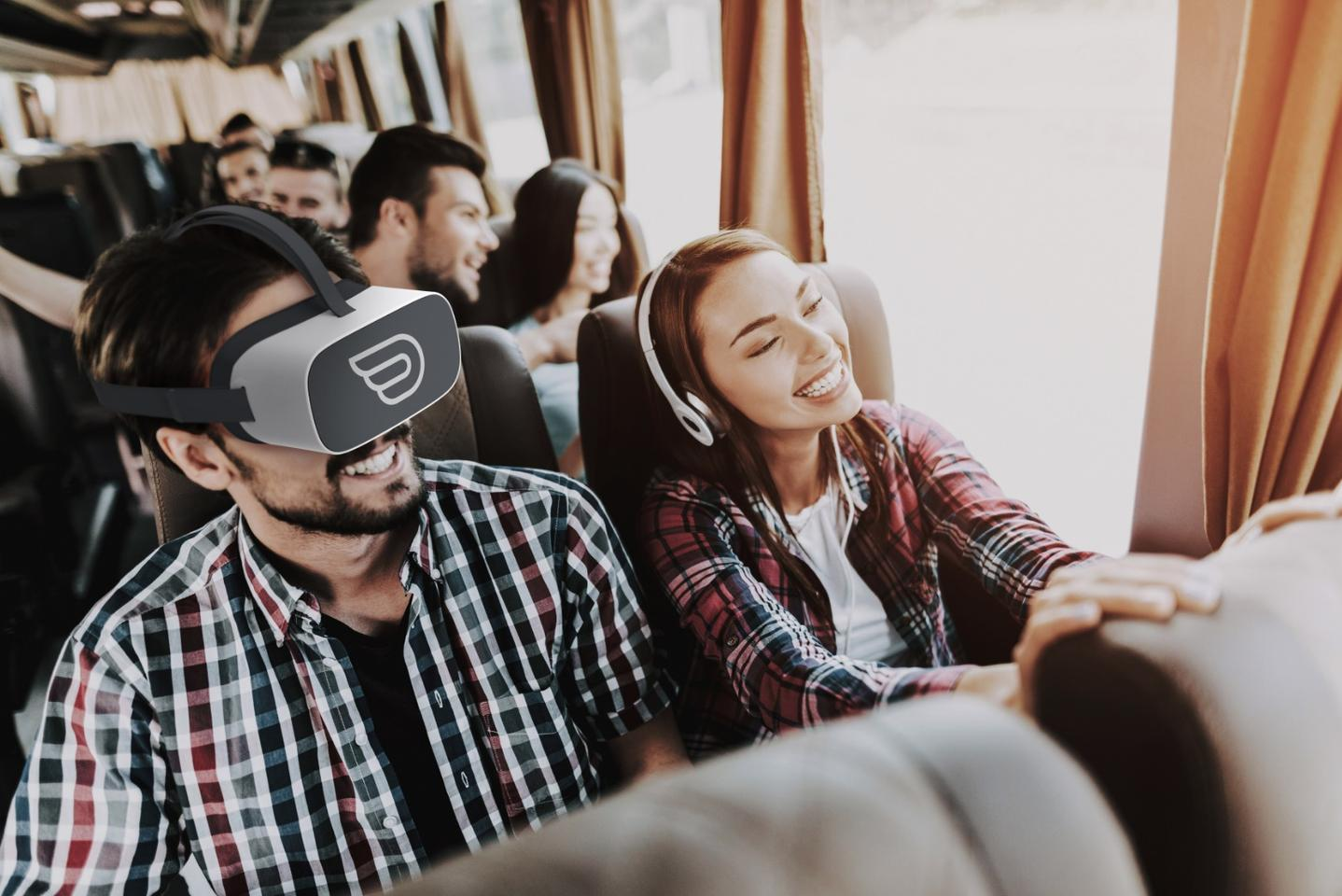"""Passengers booking """"panorama seats"""" on select Las Vegas FlixBus routes can opt for a VR headset to help pass the time on long journeys"""