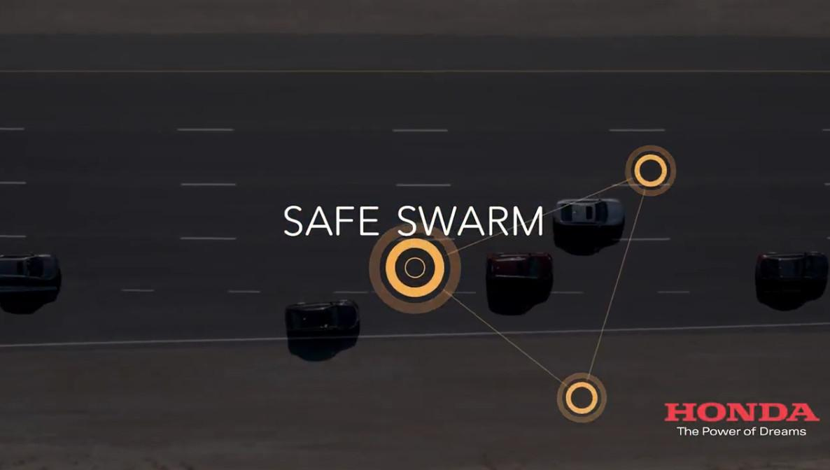 The Safe Swam concept shows how vehicle-to-vehicle (V2V) and vehicle-to-everything (V2X) communications can improve traffic flow and safety