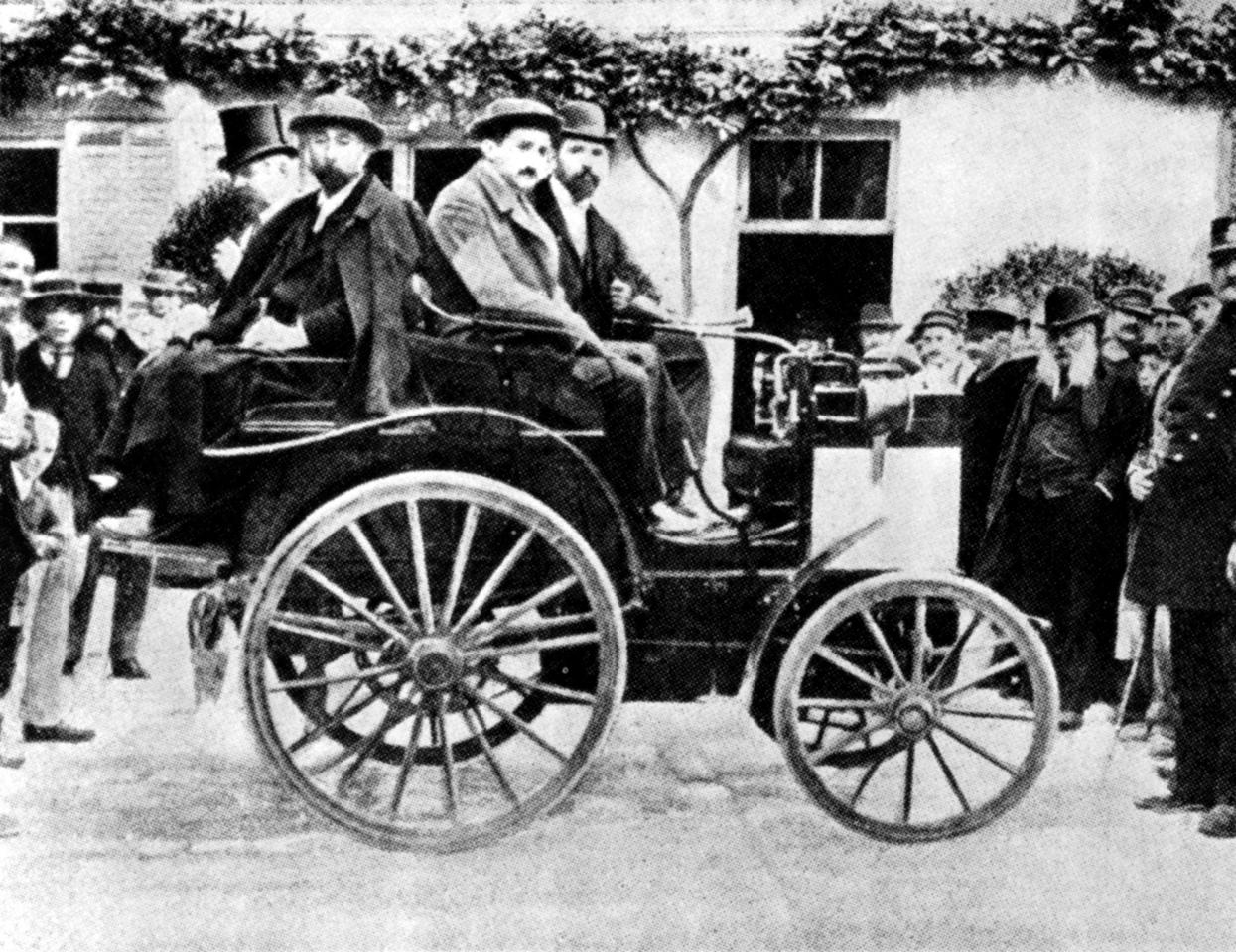 Paul Panhard in his Daimler-powered Panhard & Levassor, finished in fourth place, with Panhard & Levassor awarded joint first prize in the first competitive motorcar race from Paris to Rouen, 22 July 1894