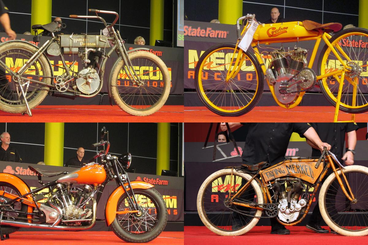 """The four biggest sales at the EJ Cole auction were from top left clockwise: a 1907 Harley-Davidson """"Strap Tank"""" for $715,000; a world record $852,500 for the 1915 Cyclone Board Track Racer; $423,500 for a 1911 Flying Merkel Board Track Racer and $385,000 for a 1942 Crocker. (Photos: Somer Hooker)"""