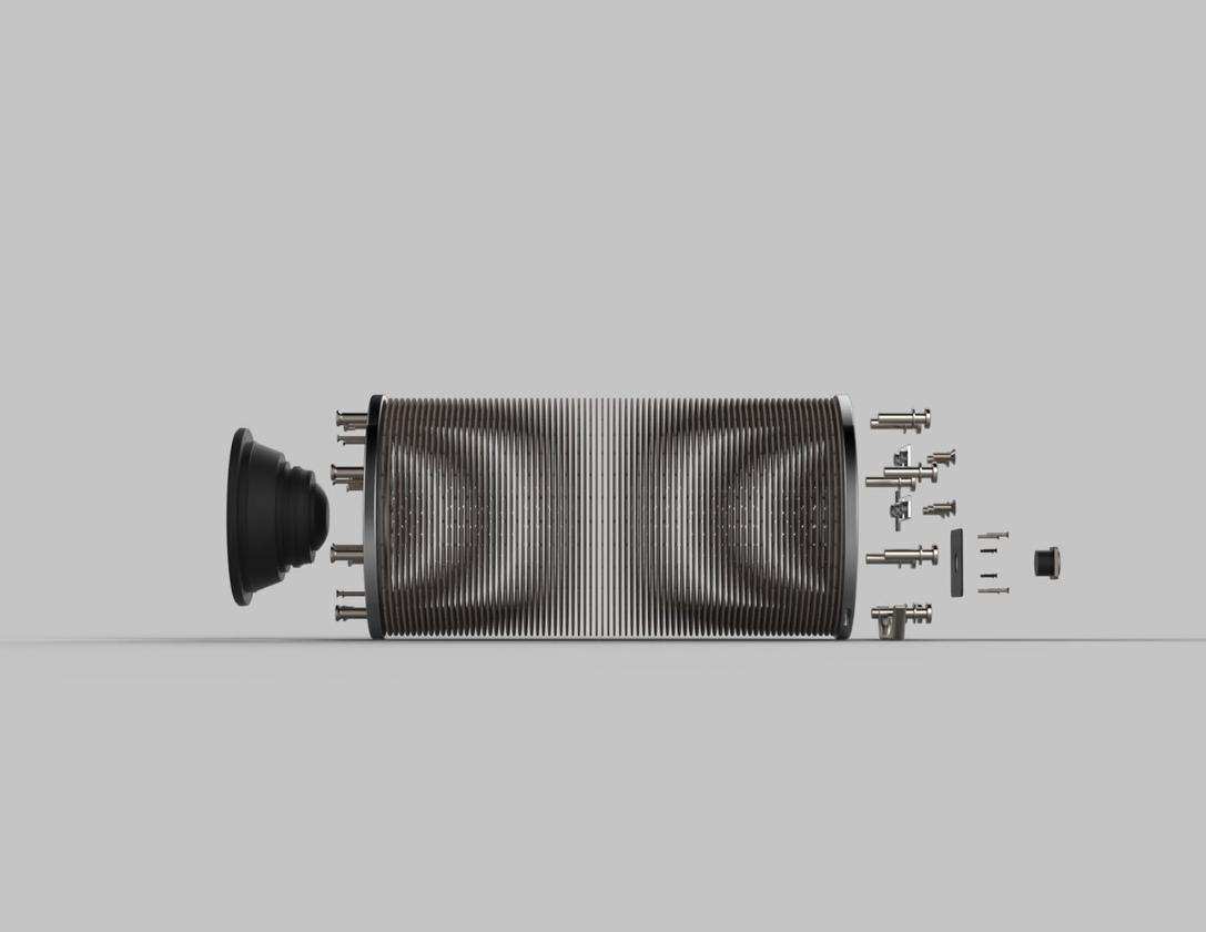1,400 recycled paper vortices are sandwiched between two aluminum plates in the Zero speakers