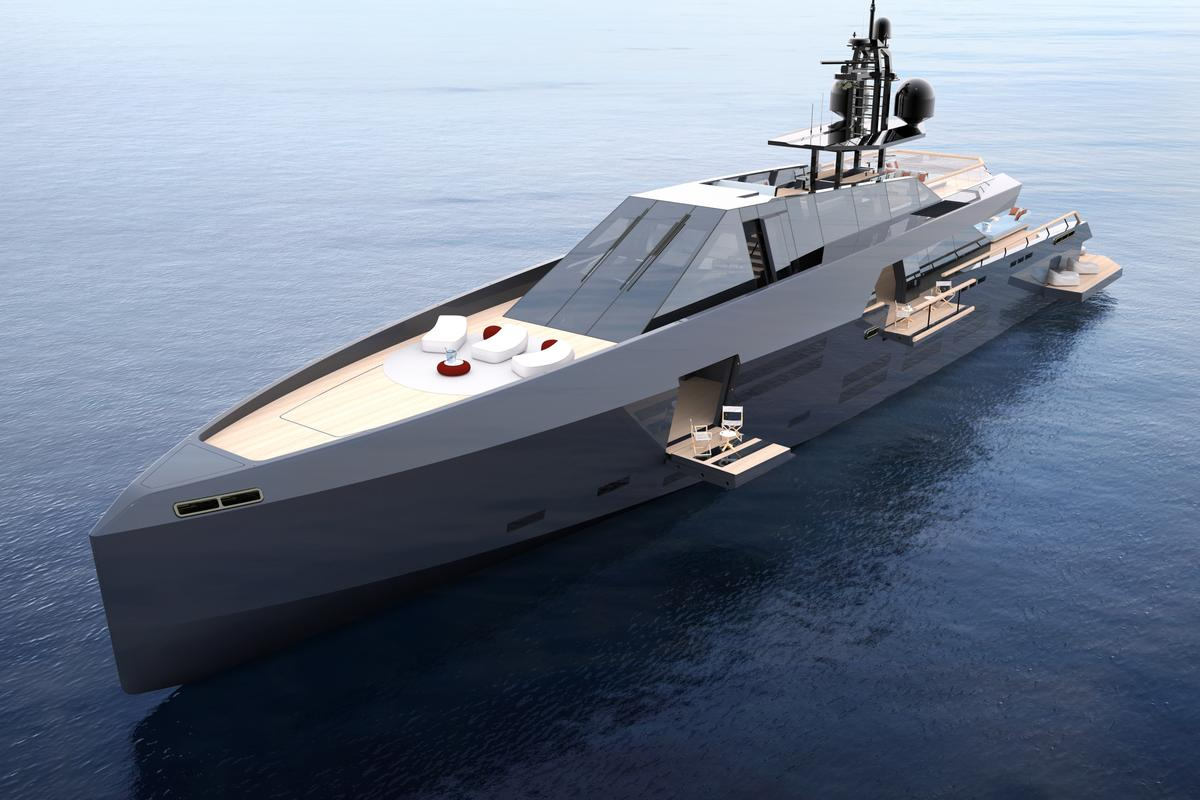 A striking vessel that expands in size, the new 165 Wallypower concept