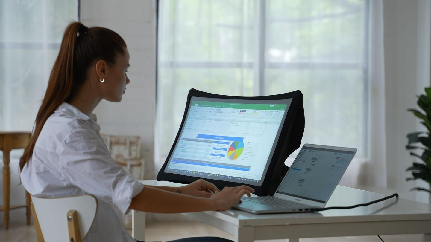 The flexible, pop-up Arovia Splay can serve as a 24-inch Full HD second display when needed, and collapsed down into its protective carry case when not