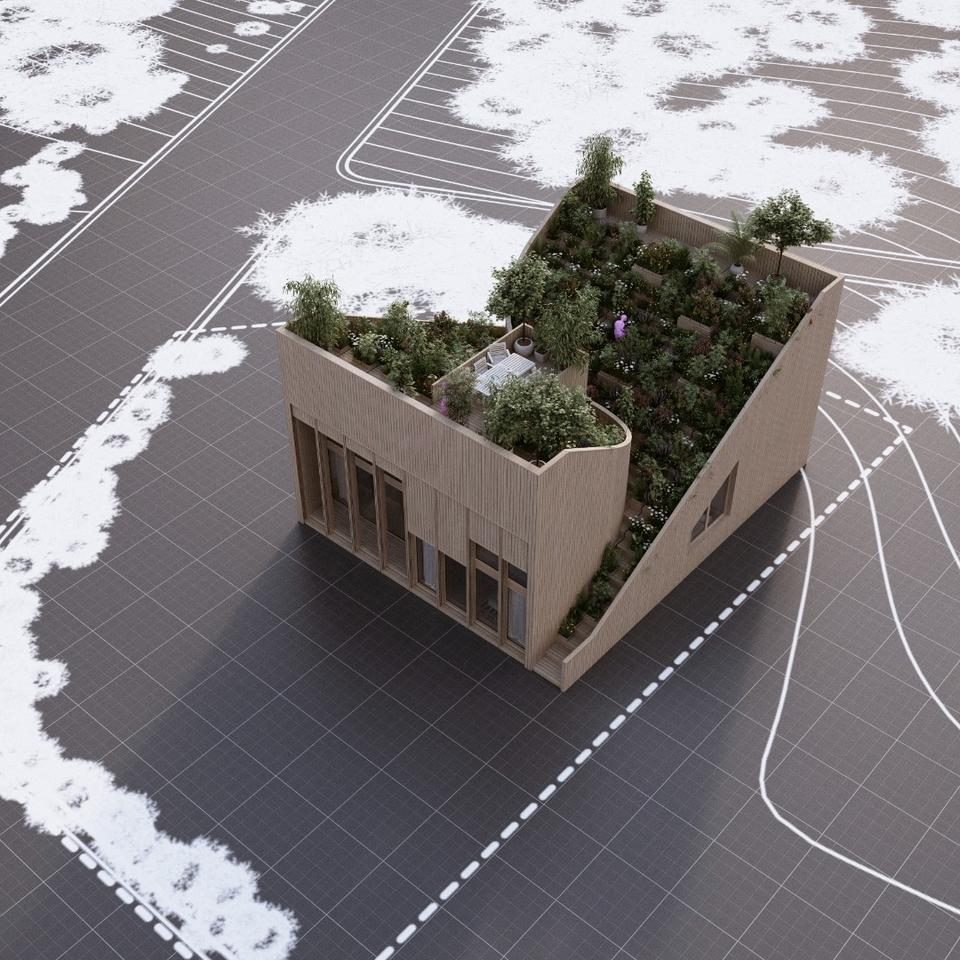 Model of the Yin & Yang house by Penda architects