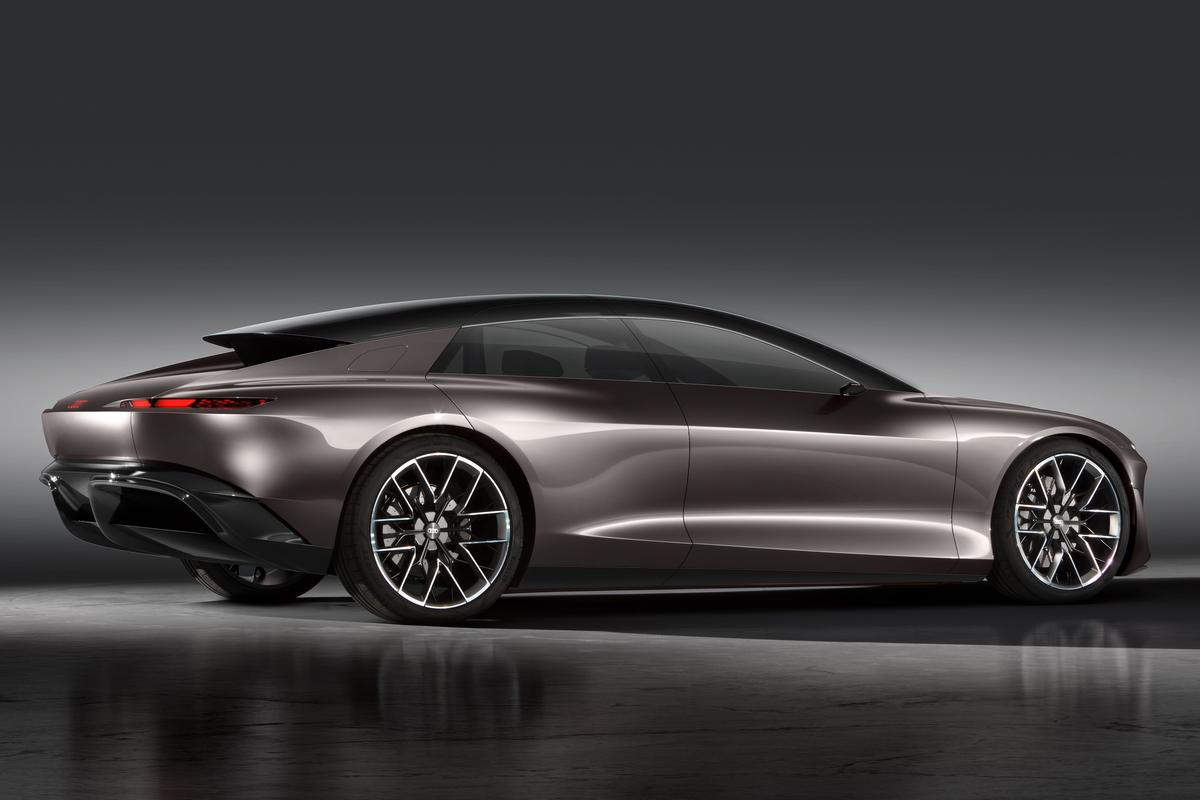 Audi stretches the Grandsphere concept out over 2 inches longer than the A8 L, but gives it a sportier look with fastback cabin, large wheels and massive diffuser