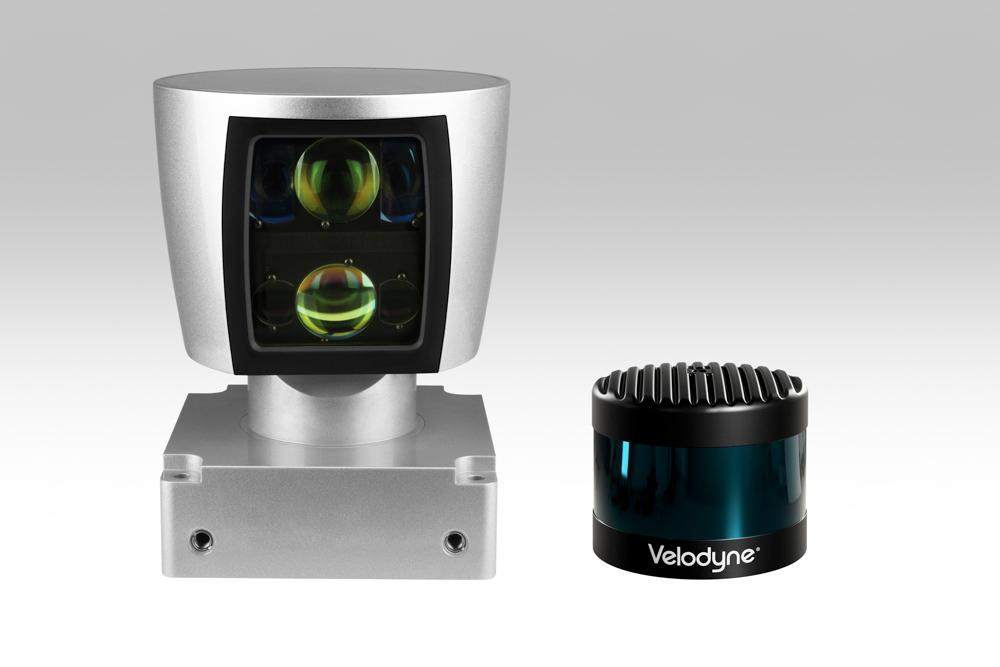 The Velodyne LiDAR VLS-128 is encased in a housing that hides the spinning components but enables the use of smaller sensors