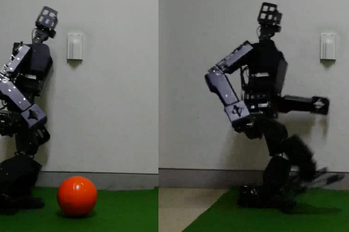 "RoboBuilder's RQ-TITAN, optimized for RoboCup soccer's larger ""TeenSize"" division, kicks a color-coded soccer ball"