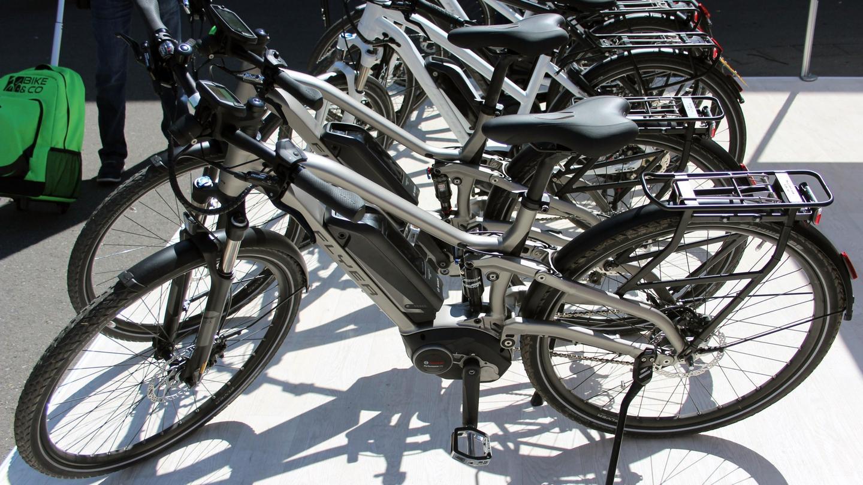 A batch of Flyer TX-Series e-bikes at Eurobike