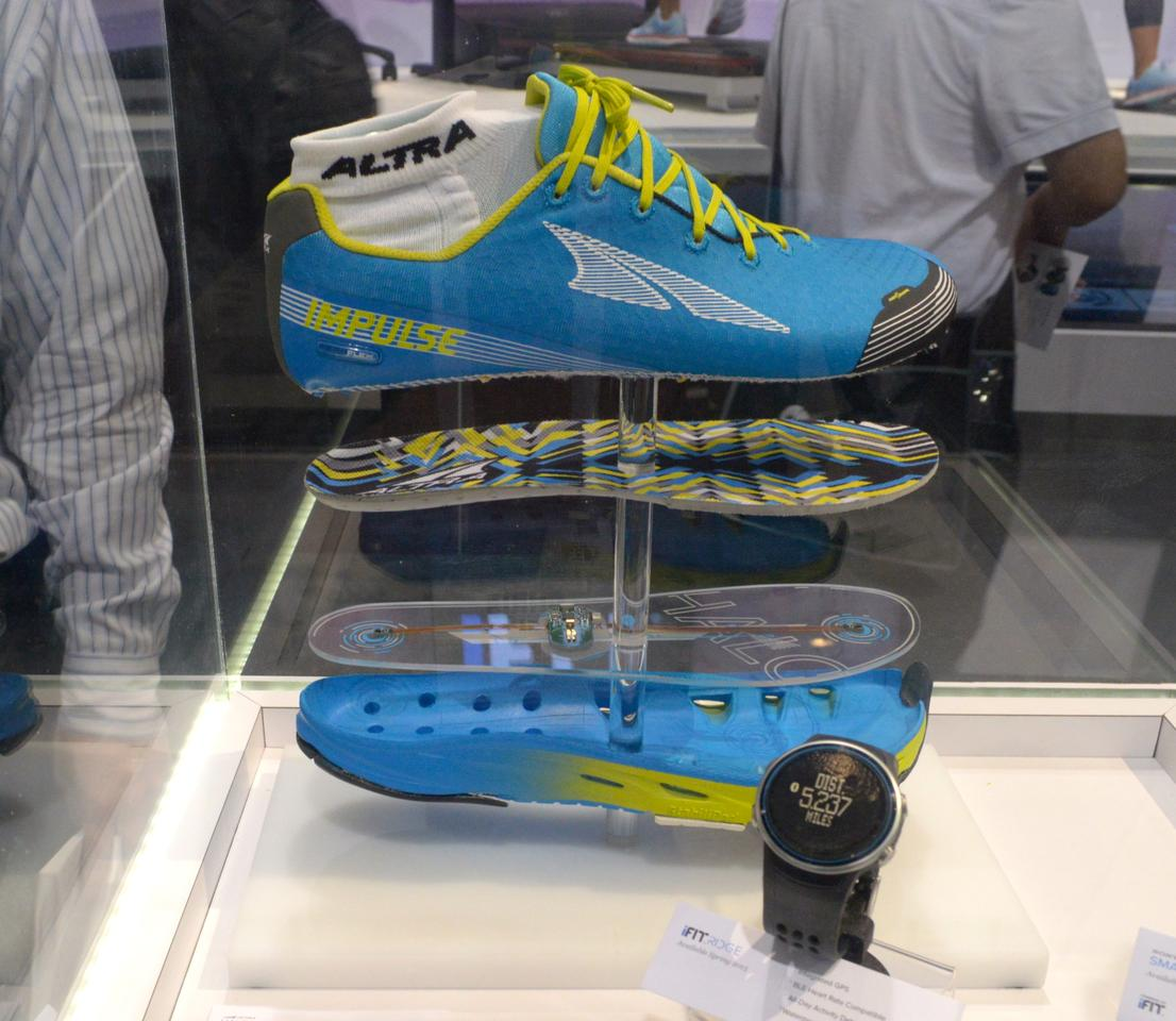 iFit shows the Altra Halo smartwatch-connected running shoes at CES 2015 (Photo: C.C. Weiss/Gizmag)