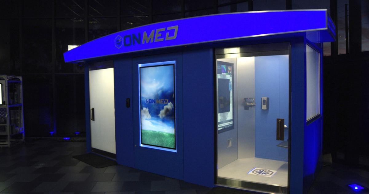 The OnMed Station is a new remote doctor's office kitted out with cameras andsensors to help doctors diagnose patients