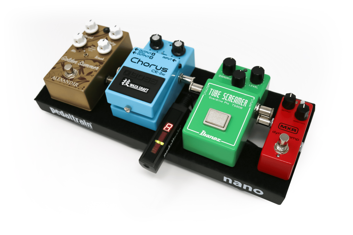 The always-on Space Saving Tuner lives up to its name by squeezing between two full-size stomps on a small pedalboard