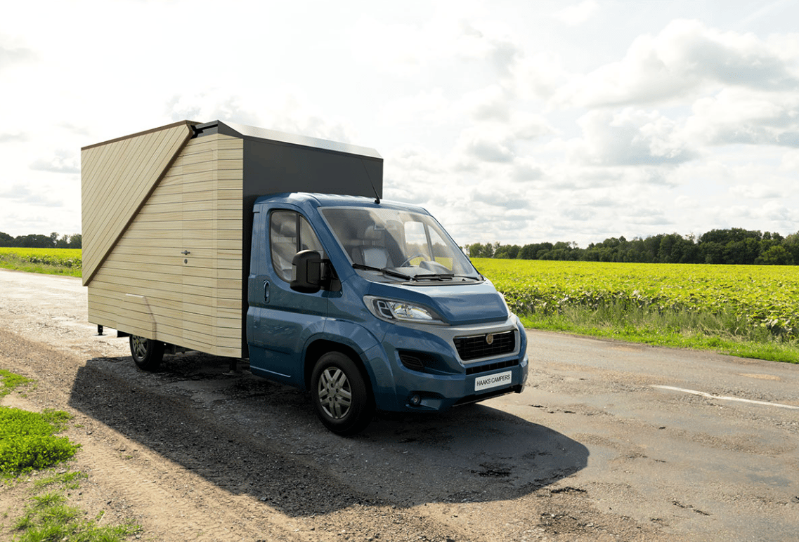The Haaks Opperland camper packs into a normal box shape for travel