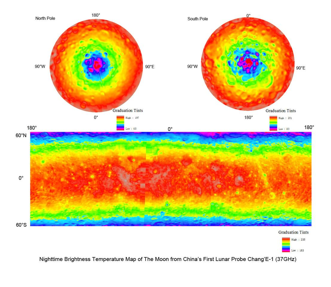 Lunar Microwave Radiometer Night-time Brightness Temperature map of the Moon at 37GHz