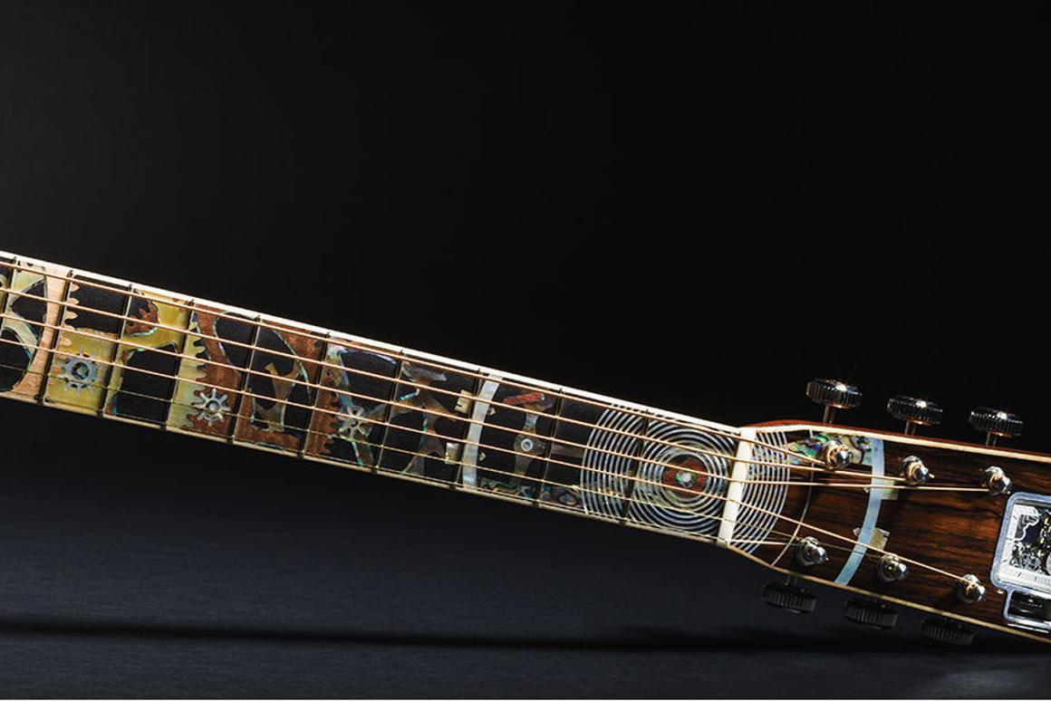 The special edition Martin dreadnought has a working RGM timepiece embedded in its headstock
