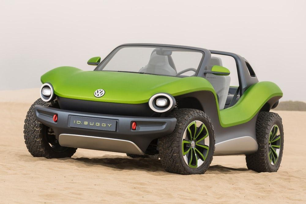The VW ID. Buggy features an electric motor built onto the rear axle and works with a single-speed gearbox to create 201 horsepower and maximum torque of 228 lb-ft