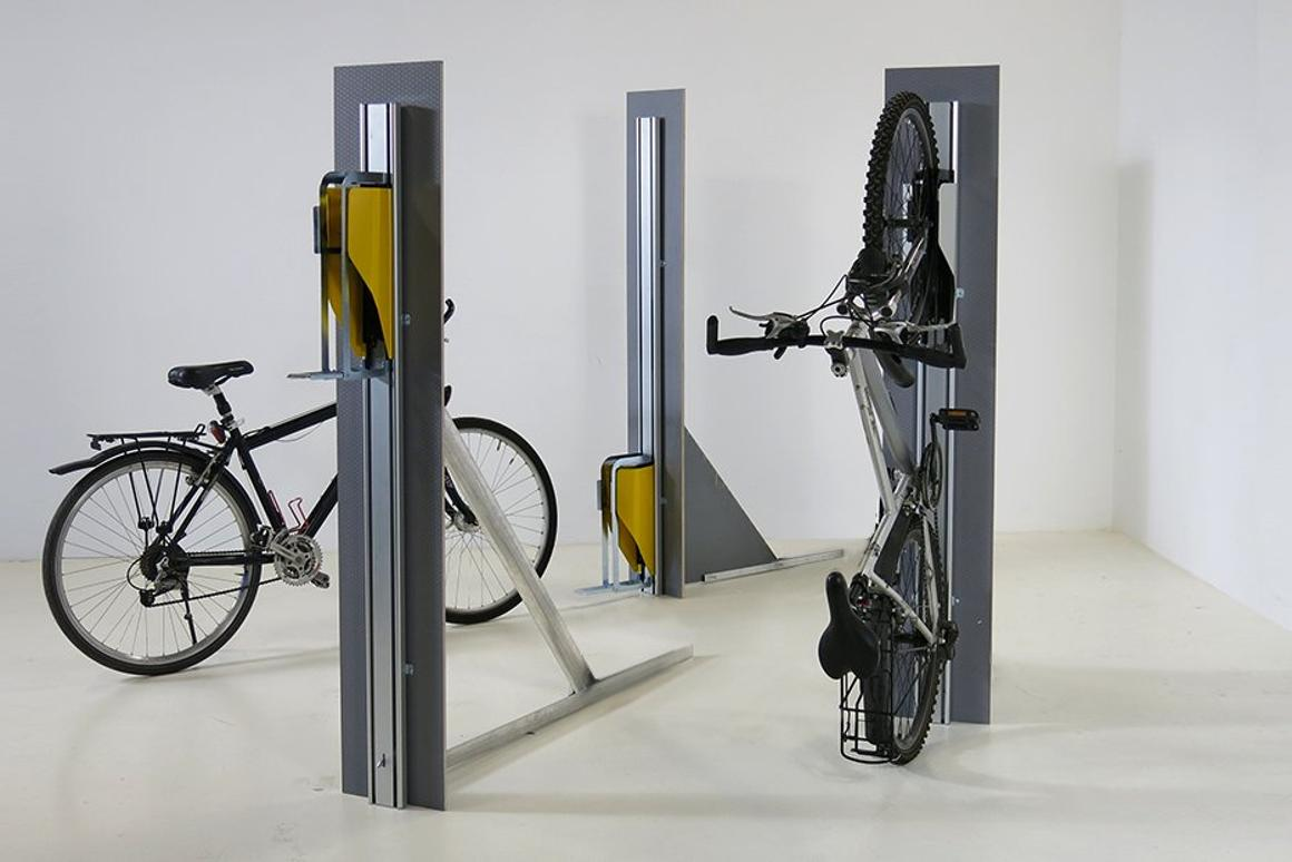 Parkis (pictured here standing free)pulls bikes up the wall