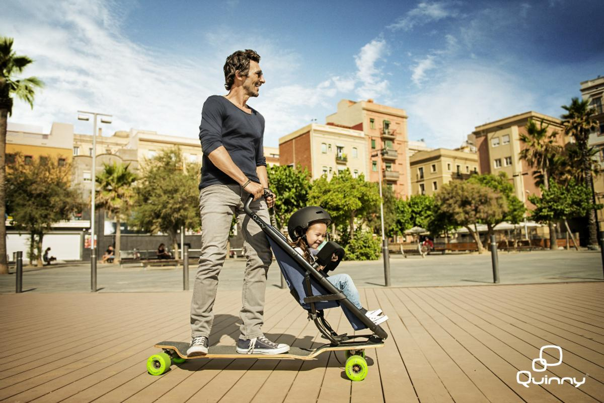 The Longboardstroller is a baby stroller bolted to a skateboard, allowing you and your child to share in the fun