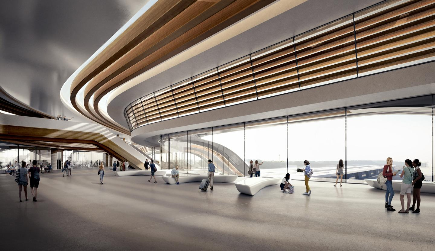 The Ülemiste terminal's design is informed by the interior layout which, ZHA says, will be easy to navigate
