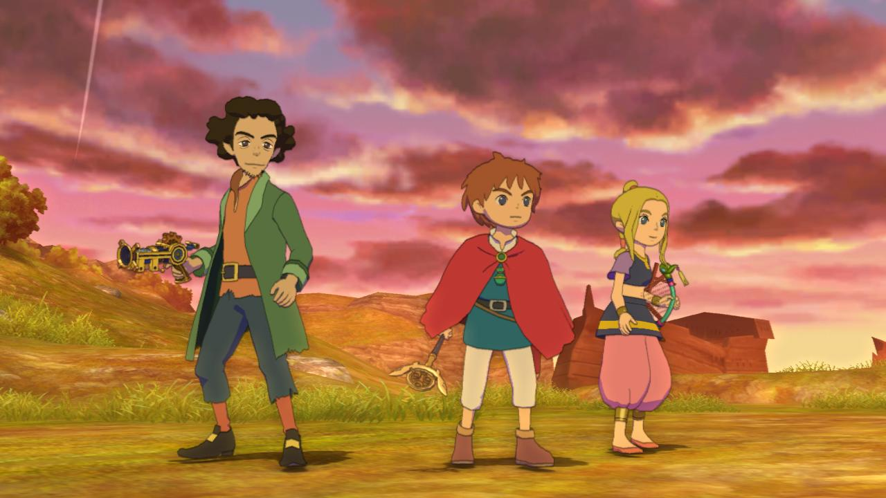 Oliver (center) and his companions take a breather after a tough fight in Level-5's Ni no Kuni for PS3