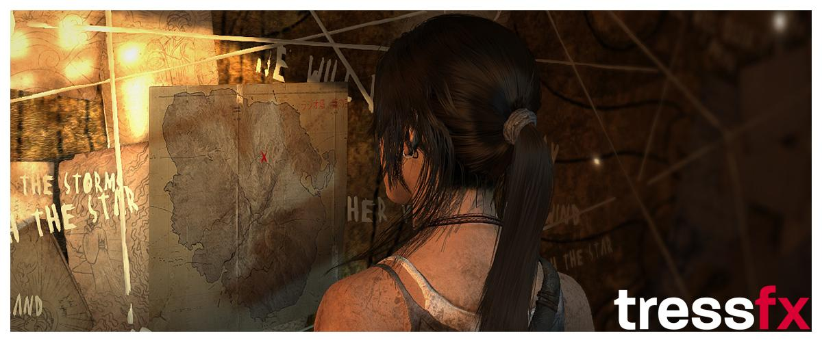Reading over the ruins of an old map, TressFX Hair allows every movement of Lara's head to be reflected in thousands of strands of hair – all in real time
