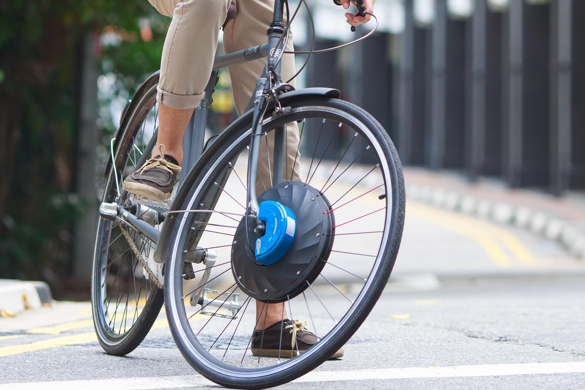 The UrbanX replaces a normal bike's front wheel