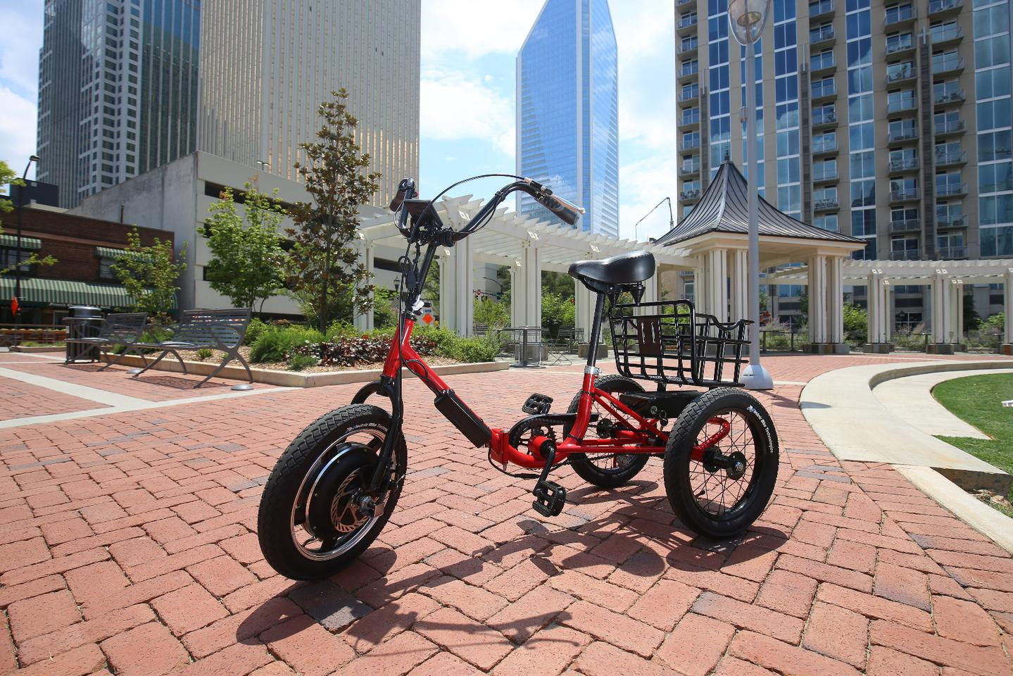The Liberty Trike features a 750-watt front hub motor powered by a removable 36-volt/10-Ah lithium iron phosphate battery pack
