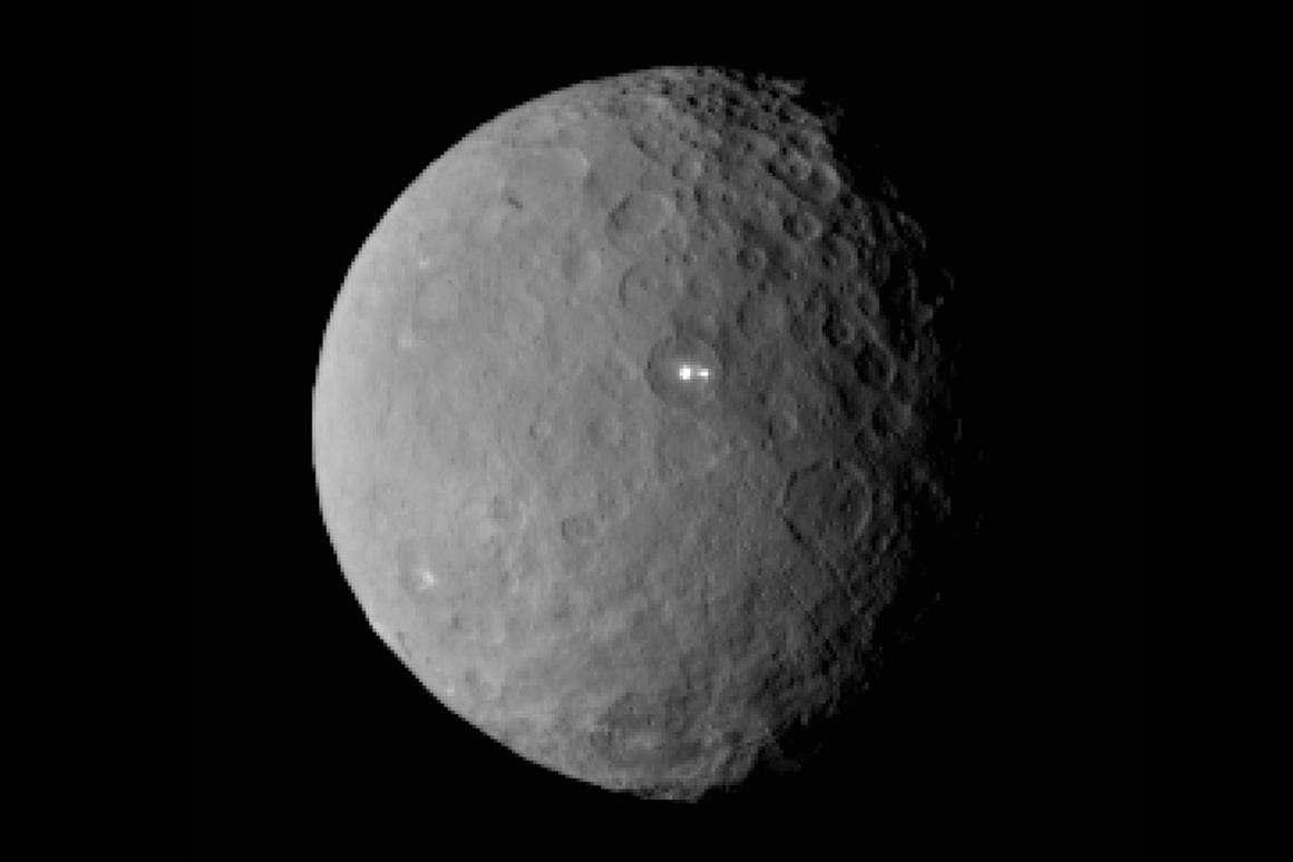 Two mysterious white spots come into resolution in this latest Dawn image of Ceres (Image: NASA/JPL-Caltech/UCLA/MPS/DLR/IDA)