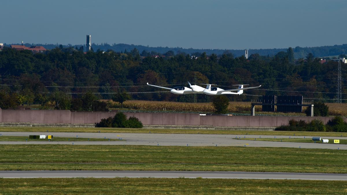 The HY4 four seater hydrogen fuel cell passenger aircraft on itsfirst public test flight