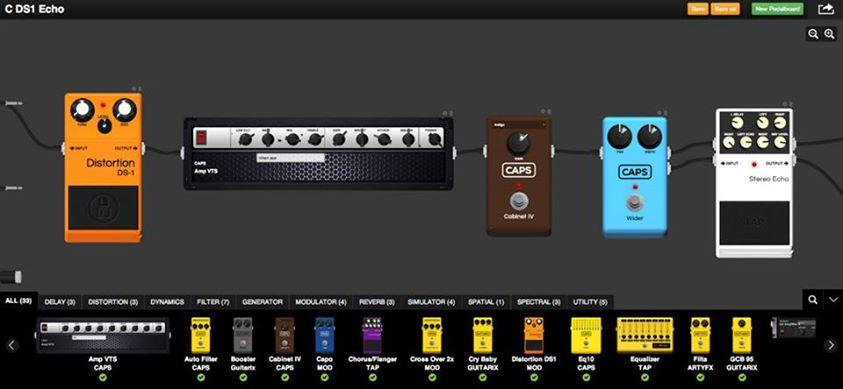 The browser-based Constructor interface, where users design and build their virtual pedalboards