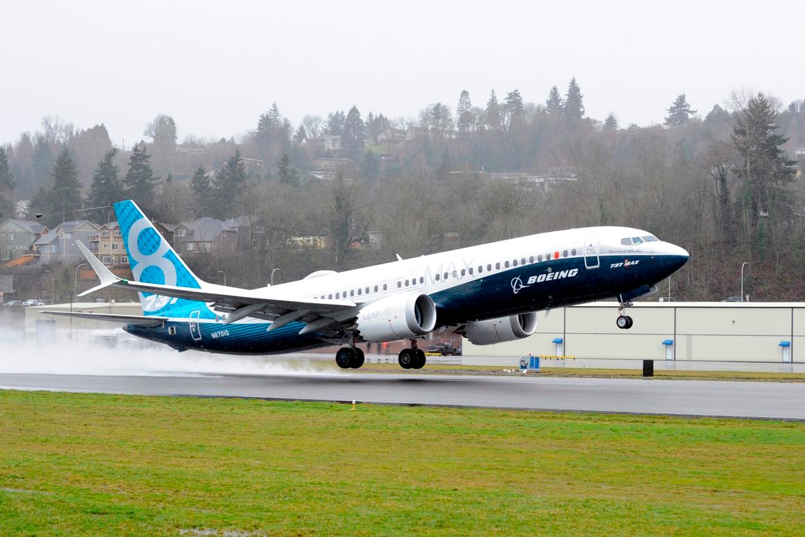 The 737 MAX takes off from Renton on its maiden test fight