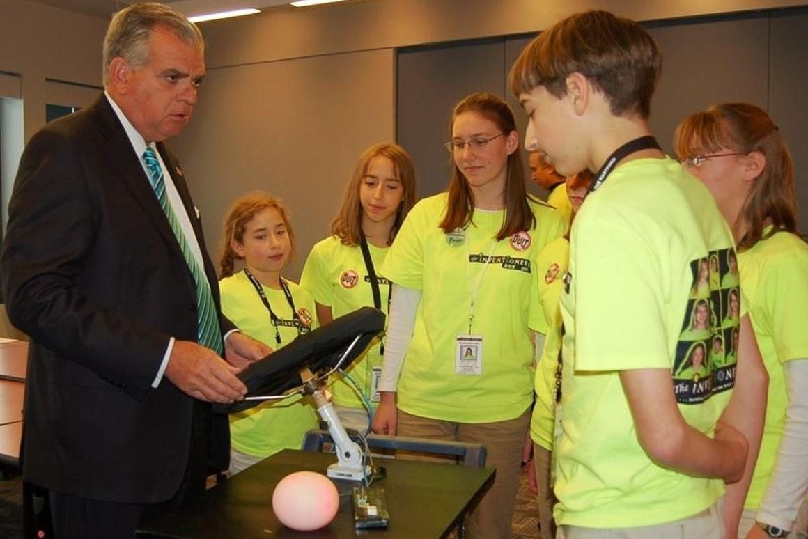 The Inventioneers present the first working prototype of the SMARTwheel to Secretary of Transportation Ray Lahood