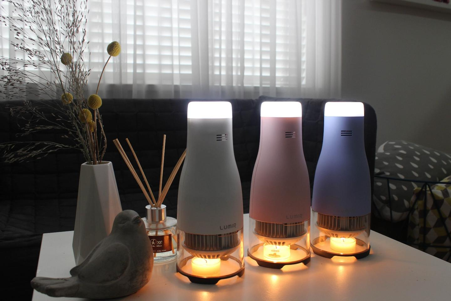 The Lumir C lamp uses heat generated by small candles to power LED lights