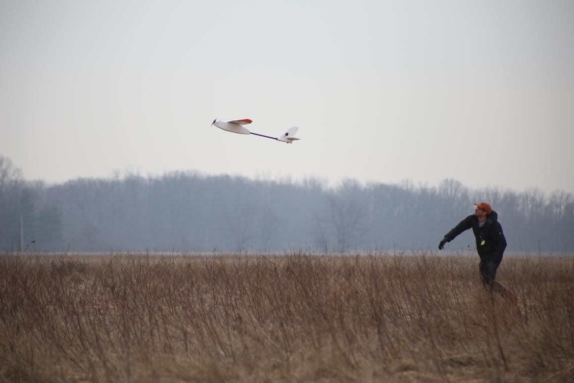 The experimental drone takes flight in Ohio