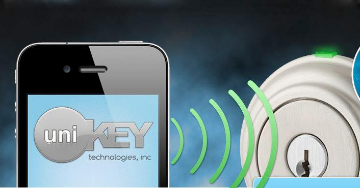 UniKey is a system in which a digital key, stored on a smartphone app, can be used to open a door lock