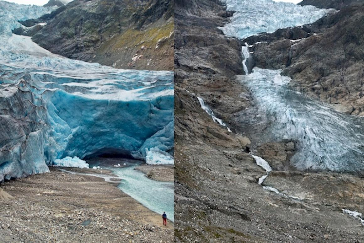 Trift Glacier, Switzerland, has retreated by1.17 km (0.7 miles) between2006 (left)and2015 (right)