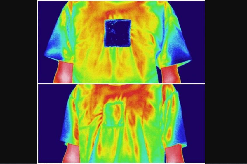 Set against an ordinary cotton T-shirt, a square of the textile either traps body heat or reflects solar heat, depending on which side is facing outwards