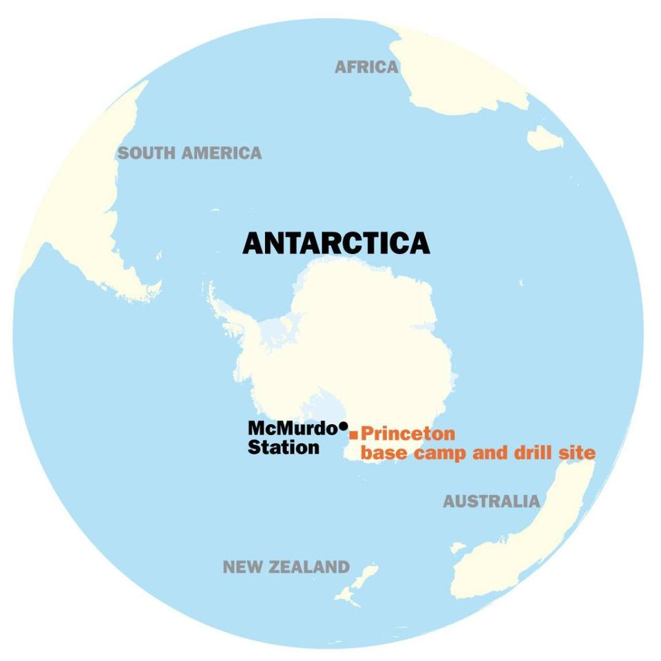 The region where the team is finding the ancient blue ice core samples