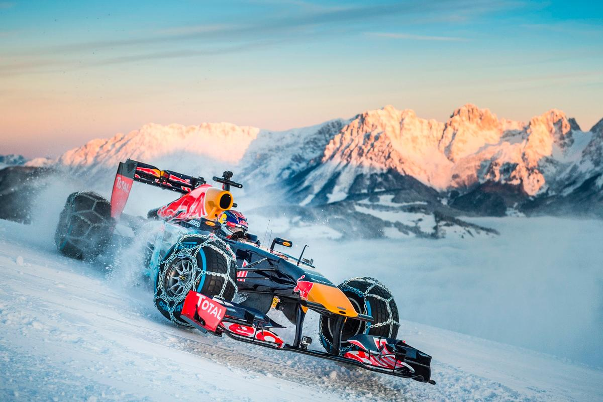 Max Verstappen puts some serious motor power to snow