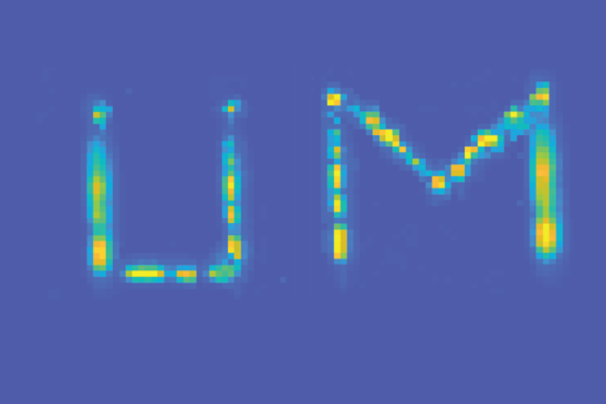"The letters U and M (for University of Michigan) are clearly visible in this ""secret"" message, created using the researchers' ""invisible ink"""