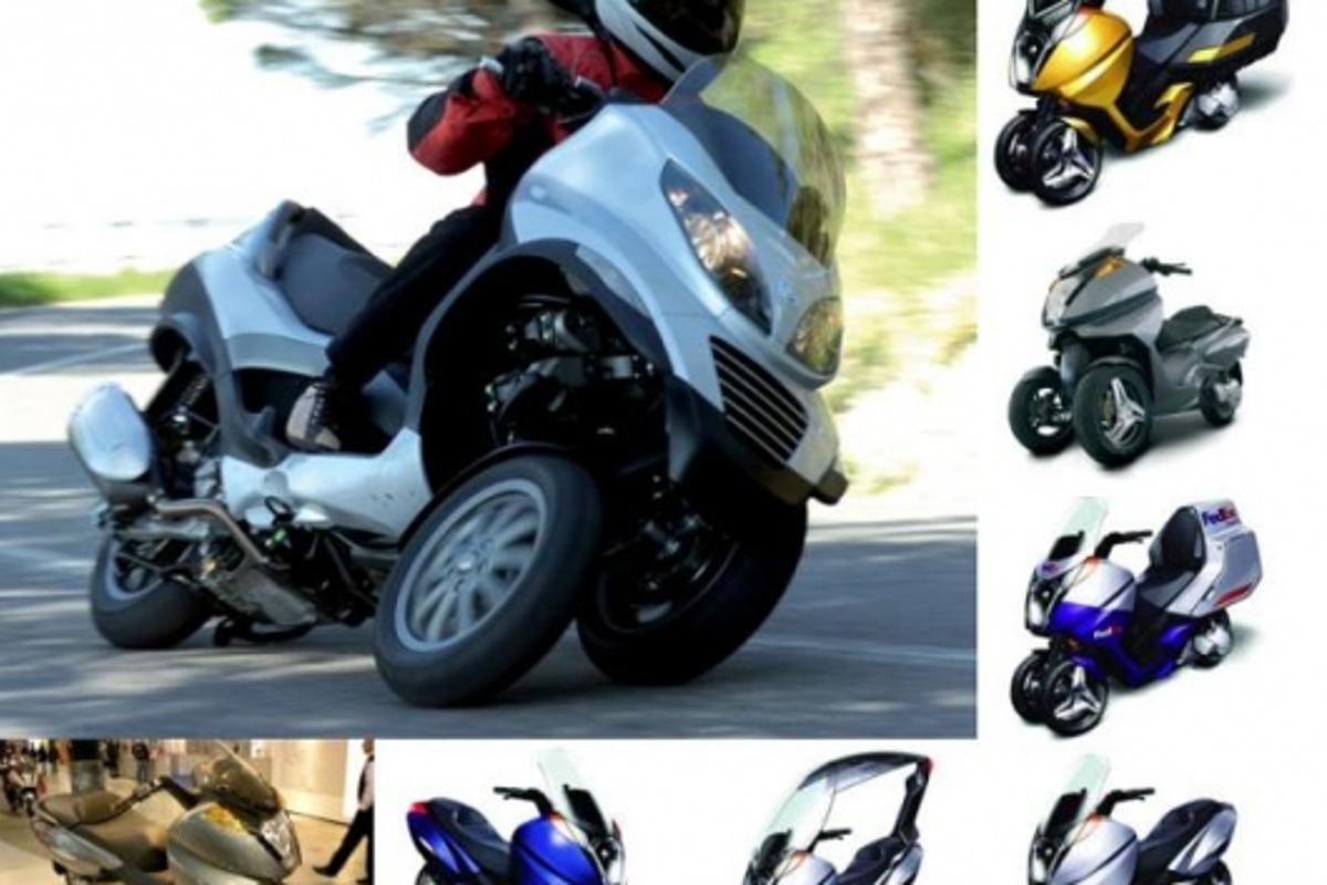 That's the Vespa MP3 in the main shot - all the others are images of Vectrix' three wheeled concepts