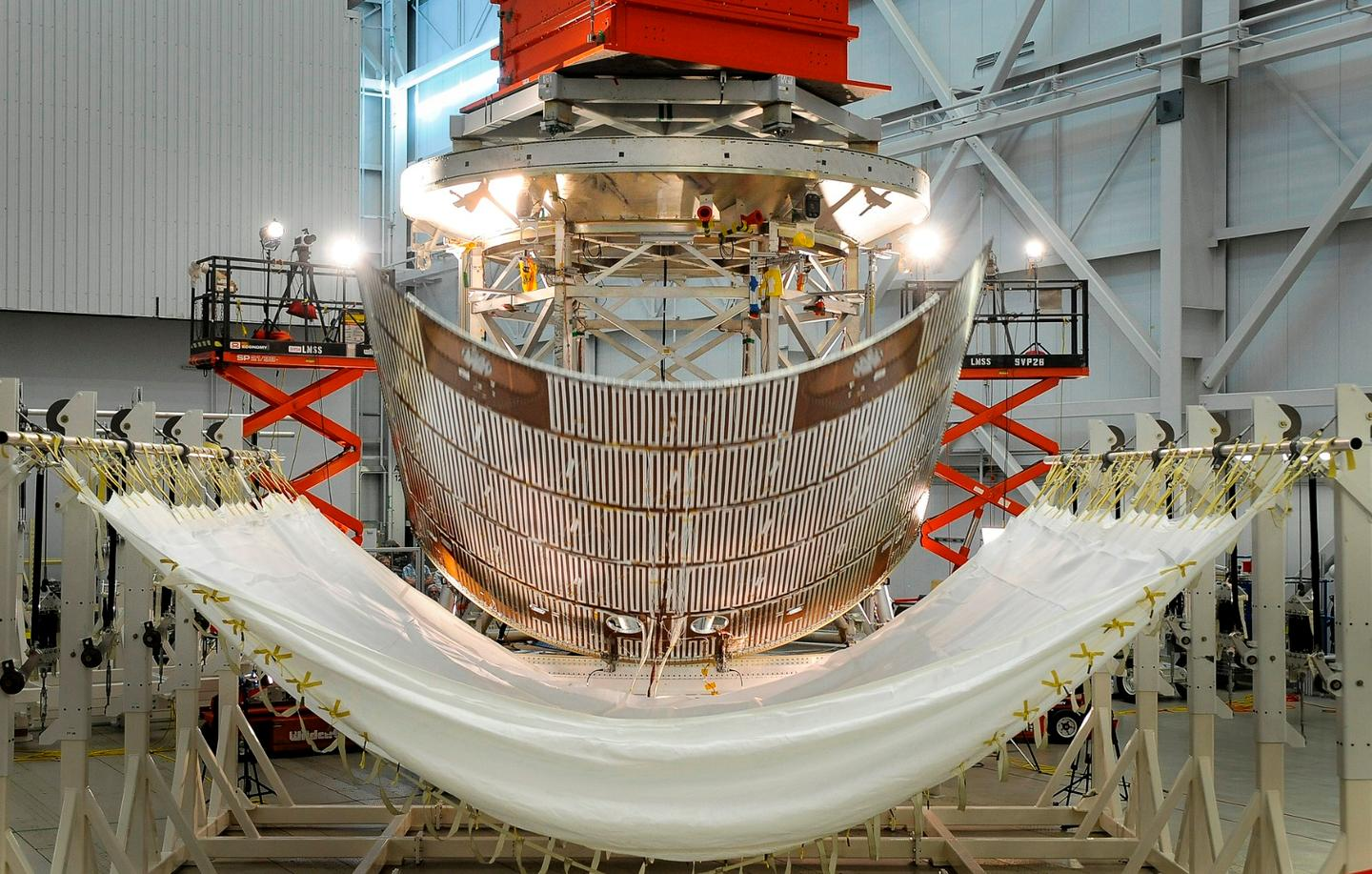 A protective panel for Orion's service module is jettisoned during testing at Lockheed Martin's Sunnyvale, California facility