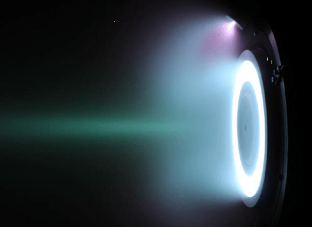 When running on a xenon propellant, the engine plume is a bright blue color