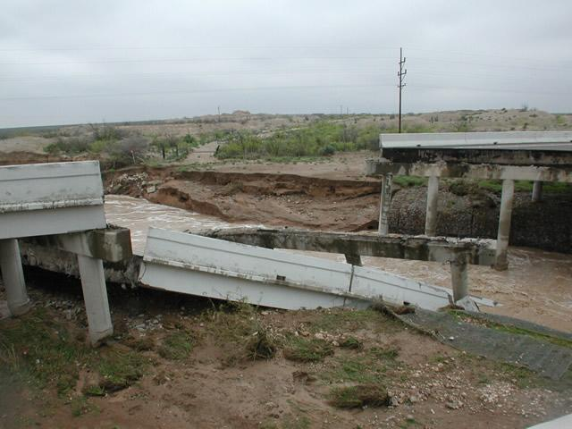 Bridge collapse due to scour and erosion