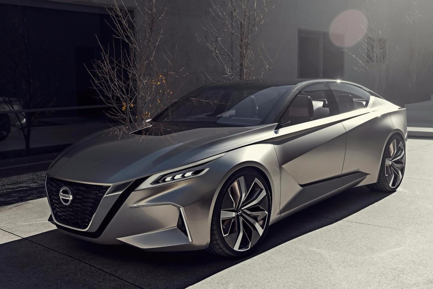 Nissan just debuted a new design for its flagship sedan, the Maxima, so we are not sure when this new design language shown in the Vmotion 2.0 would begin to proliferate