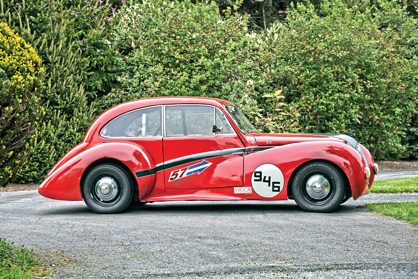"Noted British designer, driver and entrepreneur Donald Healey took his latest design, the Healey Elliott 2.4 litre to Italy in December 1946 where in testing by ""The Motor"" magazine, it recorded 104.65 mph over a flying quarter mile and was subsequently claimed it to be the fastest closed production car in the world. Marqueart has the full story on the Healey Elliott including magazine and newspaper clippings of the attempts."