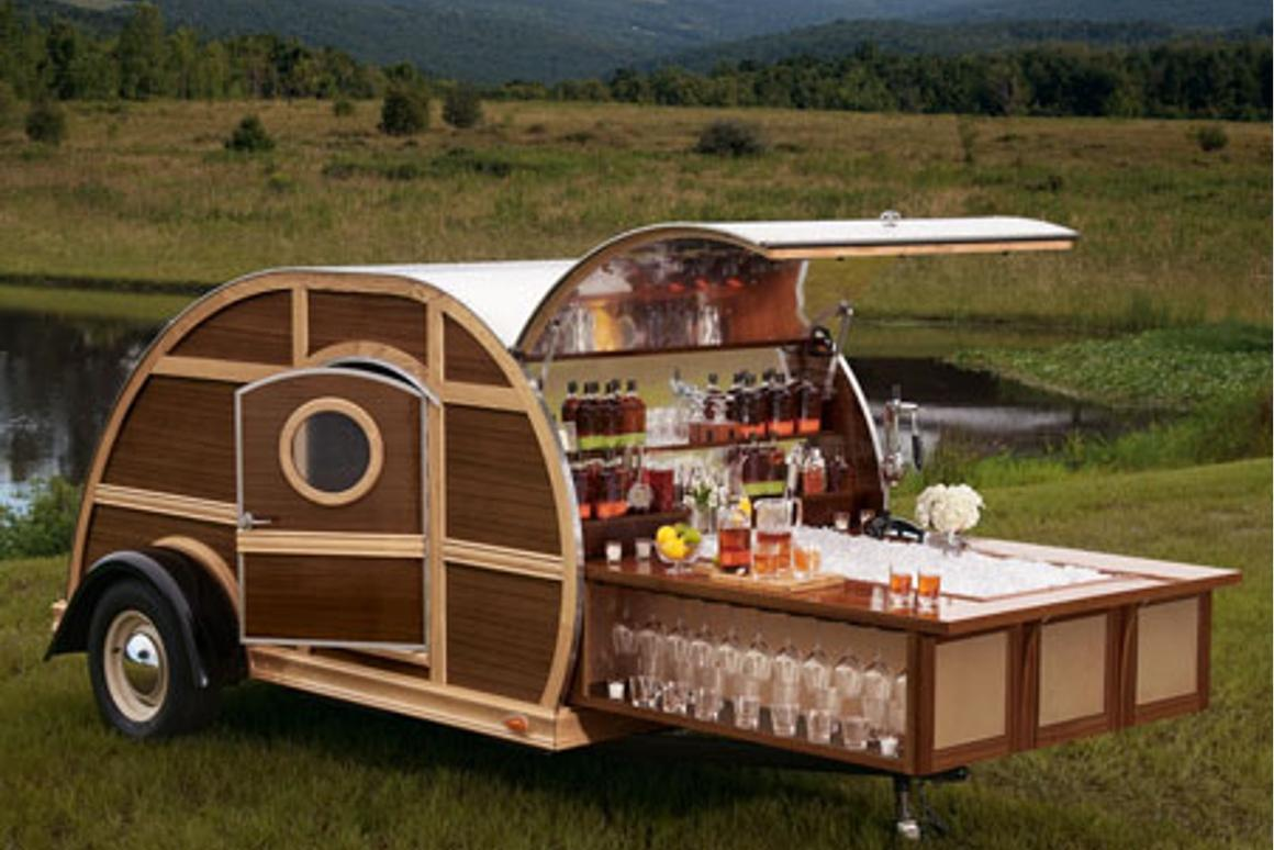 The Bulleit Frontier Whiskey Woody-Tailgate Trailer adds a touch of class to any tailgate party
