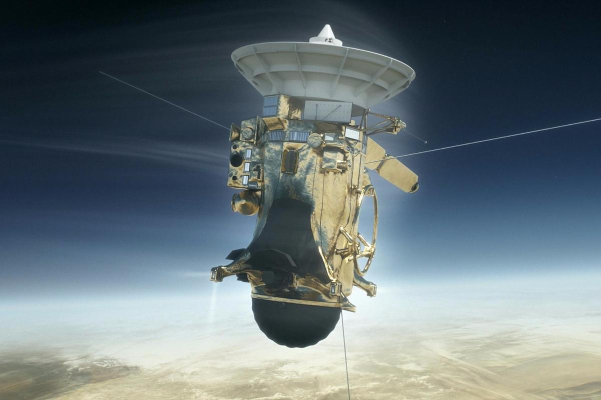 Artist's concept of Cassini entering the Saturnian atmosphere