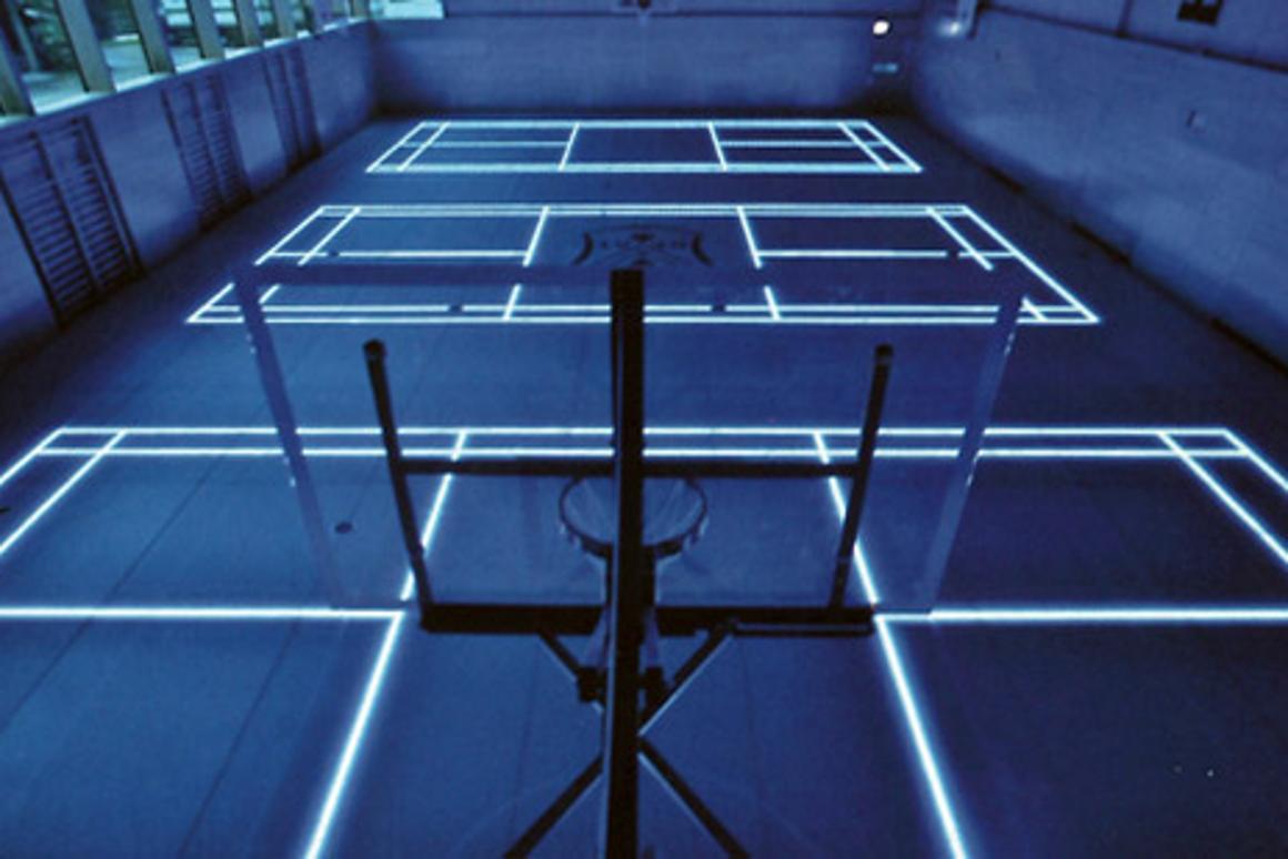 The Tron style ASB GlassFloor basketball court