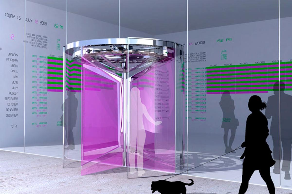 Schematic of FLUXXlab's Revolution Door, a power-generating revolving door