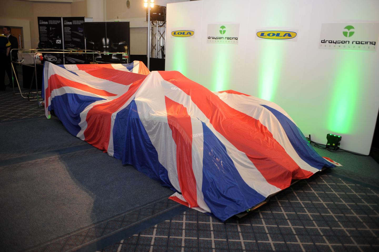 The Lola-Drayson B12/69EV ahead of its launch at the UK's 2012 Low Carbon Racing Conference at the National Exhibition Centre in Birmingham
